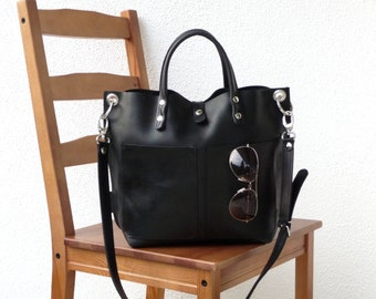 Leather bag, Leather bag black, Leather bag women, small leather shopper, handbag, small leather shopping bag, Lou Frontpocket - black!