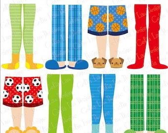 Pajama Party Clipart, Boys Pajama Feet clipart (CG165)