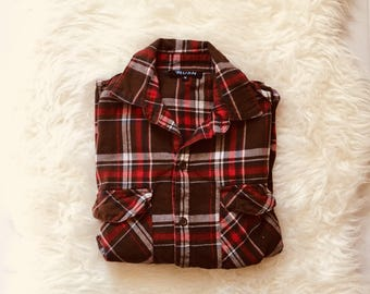 Red & Brown Vintage Flannel Shirt