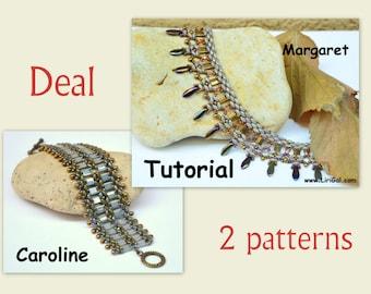 2 patterns deal. Tutorial Margaret and Caroline Tila Necklace bracelet  PDF