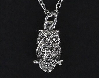 OWL NECKLACE - Pewter Charm on a FREE Plated Chain