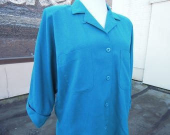 Vtg Raw Silk Nubby Natural Teal Boxy Batwing Blouse Size Large 1980's 90's