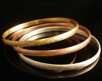 Handmade Sand-Brushed 3 tones Gold Plated Bangles