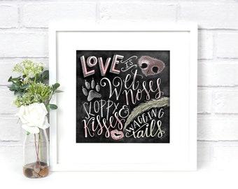 Dog Decor, Dog Lover Gift, Dog Quote, Dog Art, Chalkboard Art, Chalk Art, Dog Print,