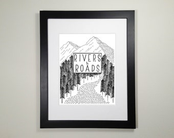 "8x10 ""Rivers and Roads"" by Head and the Heart Folk Lyric Art Print"
