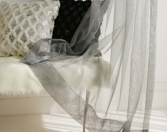 Silver Metallic Weave Sheer Curtain Voile Panel