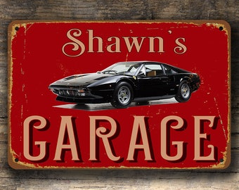 1975 FERRARI 308 GTB, Custom Garage Sign, Custom Ferrari Signs, Vintage Sign, Personalized Garage sign, Garage Name Signs, Gift for Him