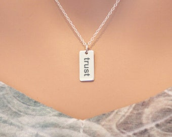 Sterling Silver Trust Charm Necklace - Choose Your Font, Trust Necklace, Trust Pendant Necklace, Trust Charm Necklace, Trust Word Necklace