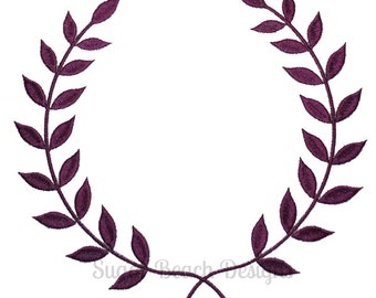 Laurel Monogram Wreath -  Machine Embroidery Design (102)