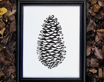 Black Botanical Nature Print - Linocut Pinecone Print