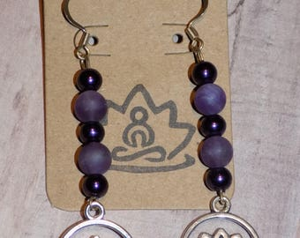Zen Earrings Amethyst and Black Beads with a Lotus Flower Charm