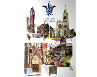 Saint Louis University Campus LIMITED EDITION Pen and Ink and Watercolor Art Print Illustration by John Stoeckley