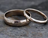 Recycled 14k or 18k Gold Wedding Band Set- Two Rings, Custom Made, Faceted Geometric Texture