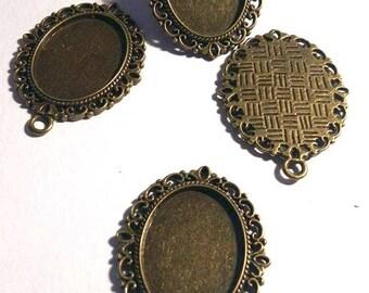 medium oval cabochon pendant bronze