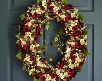 Oval Blended Hydrangea Wreath | Front Door Wreaths | Spring Wreath | Hydrangea Wreath | Summer Wreath |  Home Decor | Housewarming Gift