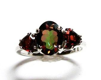 "Goshenite, goshenite accent ring, 3 stone ring, anniversary ring, Christmas,  red green, s 6 1/2   ""Dancing with Christmas"""