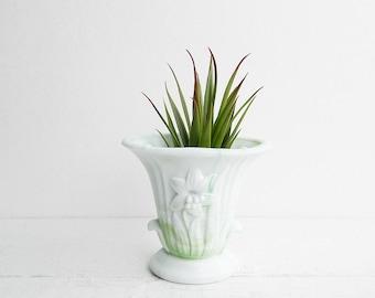 Vintage Akro Agate Lily Vase, Green & White Slag Glass, Marbled Milk Glass Planter, 658