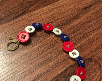 Red,white and blue button bracelet