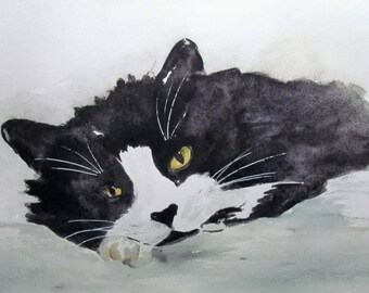 Small black and white cat - animal Art - animal watercolor painting - pet Portrait