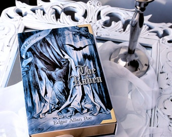 Book Clutch THE RAVEN by Edgar Allan Poe, unusual purse, gothic literature, blue / white,  with name possible, no extra charge