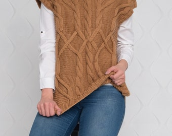 Knit Women Cabled Vest Oversized Merino Wool Woman Vest Made from 100% Italian Merino Wool Pullover Hand knit Vest Women's Clothing