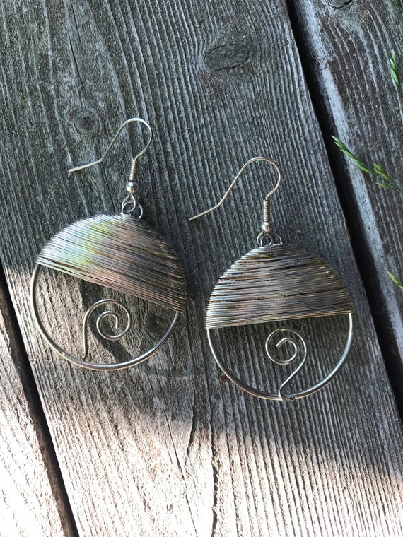 Wicked Cool Modernist 80's Large Wire Art Scupture Dangle Earrings