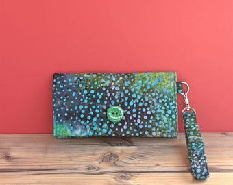 Fabric Chain wallet key/Thin wallet green/Cell phone holder/Credit card bag/Simple money clip/Eco friendly pouch/Organic cotton purse coach
