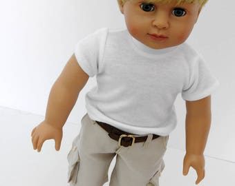 18 Inch Boy Doll Clothes Cargo Shorts T-Shirt Sneakers Belt fits AG Boy Doll