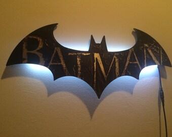 Gotham city batman light night cityscape wall decal bat wall light small mozeypictures Images