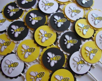 Bumble bee cupcake toppers and other bee party supplies