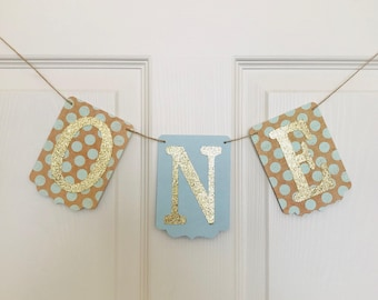ONE High Chair Banner- Polka Dot Banner- First Birthday Decoration-