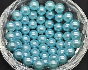 """40 small round beads 3 mm """"drilled"""" glacier blue acrylic"""