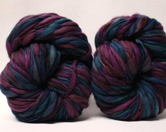 Handspun Merino Thick and Thin Yarn Wool Bulky Wool Slub  Hand Dyed tts(tm) Self-Striping LR1702