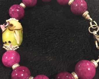 Lampwork owl and Jade bracelet