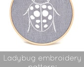 PDF embroidery pattern, ladybug hand embroidery, ladybird embroidery pattern,  DIY insect embroidery, embroidery hoop art, DIY needlecraft