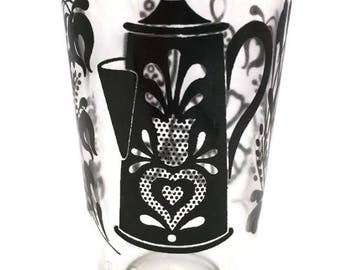 Vintage SWANKY SWIG 1950's Era Juice Glass with Black Trivets and Teapot