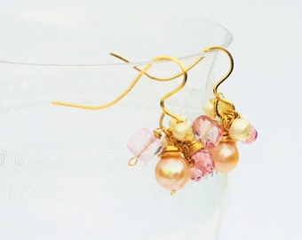 Pink Topaz and Pearl Earrings, Gemstone Dangle Earrings, Pink Gemstone Jewelry, Gold Earrings