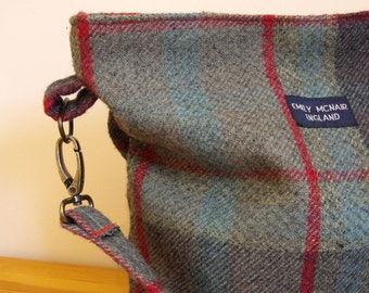 Martha Handbag in Grey, Green and Red Tartan Shoulder Bag Ready to Ship