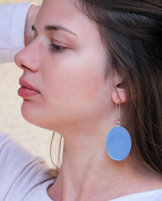 Sky blue earrings, blue resin earrings, statement earrings, aquamarine, indigo, cyan, light blue earrings, mediterranean jewelry lightweight
