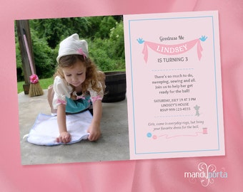 Pink Cinderella Inspired DIY Digital Printable Birthday Invitation Sewing Theme with Custom Photos