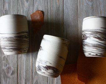 Marbled Stoneware Tublers- Handmade pottery