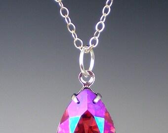 Rhinestone Necklace Rose Purple Haze Swarovski Coral Pink Purple Wedding Bridesmaid Necklace