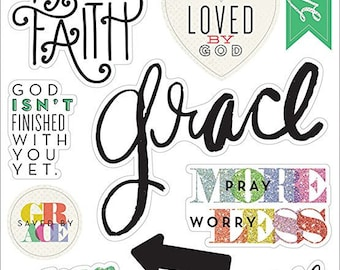 Me & My Big Ideas Specialty Stickers Let Your Faith,bible journaling