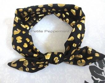 Black gold baby headband - Baby Head Wrap - Bow Knot Headband - Baby Turban - Knotted Bow headband - Top Knot Headband