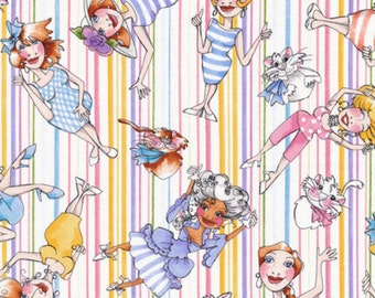 """Quilting Treasures: Loralie Up and Away - character toss  100% cotton fabric by the yard 36""""x43"""" (QT276)"""