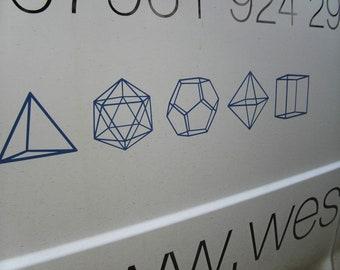 Set of Platonic Solids Polyhedra Vinyl decal