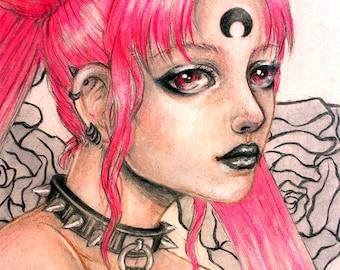 Black lady chibi moon sailor moon fanart moon pink power otaku geek