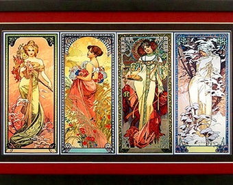 Mucha Poster The Four Seasons Art Nuveau Print Custom Framed