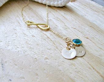 14k Gold Filled Infinity Lariat Necklace,Mothers's Initial Necklace,Birthstone,Lariat,Personalized Necklace,Monogram Hand Stamped Initials