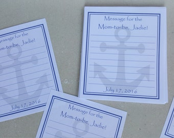 Nautical Shower Message Sheets -Choice of Color and Customized to Your Occasion-Anchor Guestbook Birthday Baby Shower Wedding Message Bottle